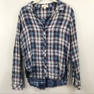 Cloth & Stone Blue Plaid Button Down Top tie-dye S